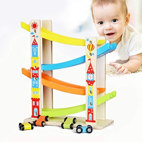 Upxiang Holzbahn Auto Rampe Racer mit 4 Mini Autos Spielzeug Ulme Regenbogen mit Vier Schichten Hölzerne Spur Trägheitsschlittenauto Junge und Mädchen Geschenke (Mehrfarbig)