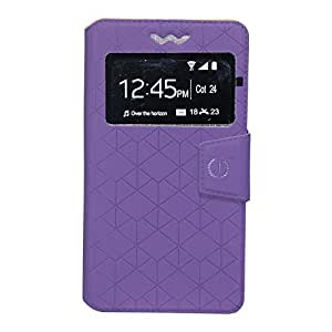 Jo Jo Toto Series Leather Pouch Flip Case With Silicon Holder For Alcatel One Touch Flash 2 Purple