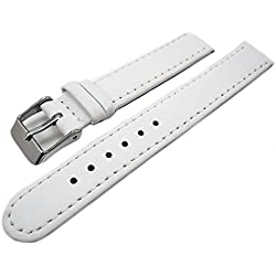 Ladies White Leather Watch Strap Band With Nubuck Lining 12mm
