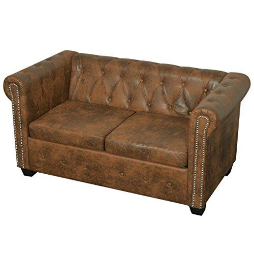 Festnight- divani da soggiorno, divano ufficio, divano chersterfield a 2 posti pelle artificiale marrone