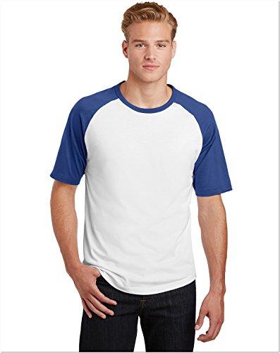 Colorblock Raglan-jersey-shirt (Sport-Tek T201Short Sleeve Colorblock Raglan Jersey Gr. XXXX-Large, White/Royal)