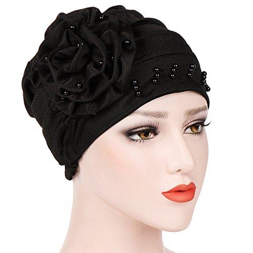 Amorar Turbante musulmano con decorazione floreale perline, Pre-Tied  Bandana Cap foulard in cotone a113fd74695