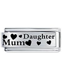 """superlink Abalorio con inscripción en inglés """"Daughter Mum"""", diseño con corazones, estilo italiano"""