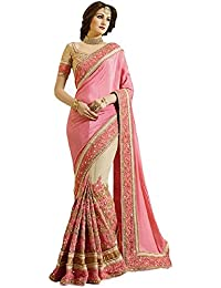 SareeShop Women's Georgette Embroidered Saree With Blouse Piece(SimaranPink-SAREE01_Pink_COLOUR)