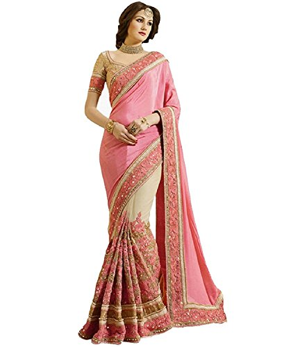 Indian E Fashion Women\'s Pink Georgette & Net Material Partywear Saree With Blouse Piece (PINK)
