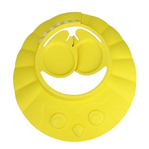 OverDose Unisex-Baby Einstellbare Baby-Kind-Shampoo-Bad-Bade Dusche-Kappen-Hut-Wäsche-Haar-Schild (Gelb)