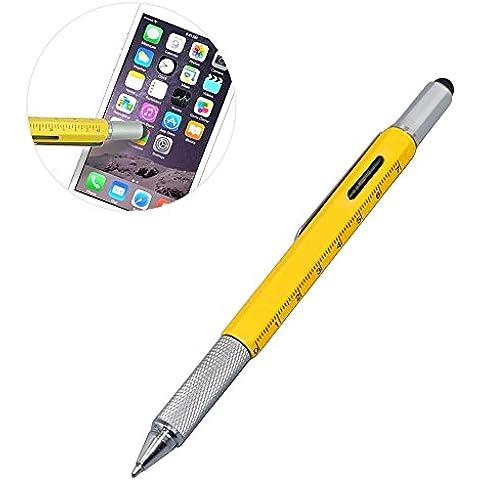 ezykoo multiuso 6in 1in alluminio penna a sfera con righello, levelgauge, 2cacciaviti e penna stilo per Tablet e telefono perfetto per regalo