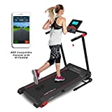 TechFit MT90 Tapis de Course Motorisé Electrique Pliable, 16 Programmes Internes, 2.5 HP, Surface de Roulement 1000x360mm, Filtre EMC, Support de Tablette, Bluetooth