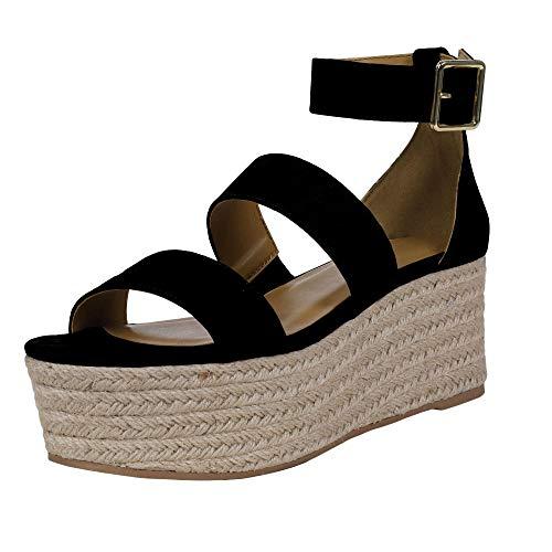 Lueyifs Damen Keilabsatz Espadrilles Knöchelriemen Schnalle Peep Toe Wedge Sandalen Flatform Sommerschuhe -