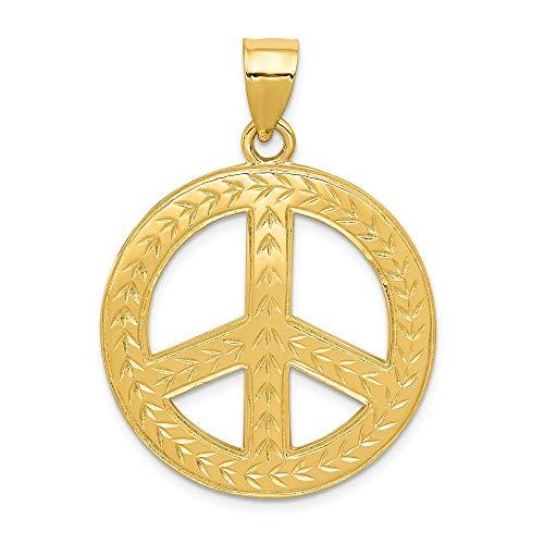 Anhänger für Halskette, 14 Karat Gelbgold, Peace-Zeichen
