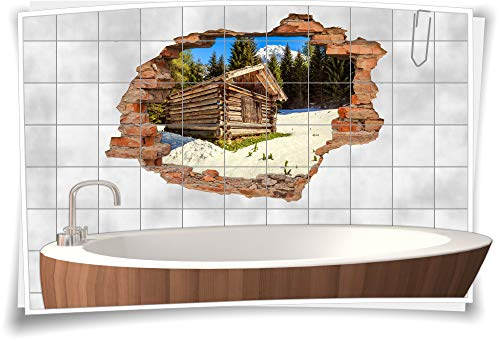 Medianlux Fliesen-Aufkleber-3D Fliesen-Bild-er Fliesen-Tattoo Wand-Durchbruch Alpen-Look Winter Schnee Gebirge Schweiz Holz-Hüte Berg, 120x80cm, 25x25cm (BxH)