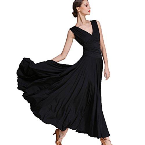 V-Ausschnitt Nationaler Standard Ballroom Tanzkleid für Frauen Temperament Übungskleid Trikot Modern Walzer Tango Tanzen Performance Kostüm, Black, ()