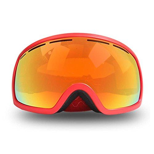 JING Outdoor-Sportarten Winddichte Brille Doppelschicht Anti-Fog Ski Gläser Super Zähigkeit Warm und Atmungs Polarisierte Sonnenbrille für Mann und Frauen, red