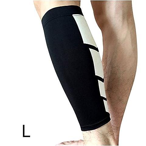 Manteau de compression pour veau, Chaussettes de compression KIROLAK Calf Taille L Chaussettes unisex à compression de jambe pour éponge dentaire, soulagement de la douleur et récupération - Noir