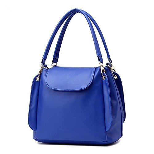 HQYSS Borse donna PU pelle OL pendolari semplice tre-strato donne borsa a tracolla Messenger Handbag della benna , rose red treasure blue