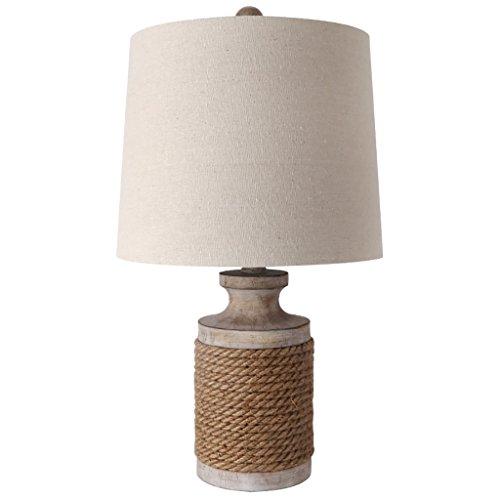 &Tischlampe Retro Tabellen-Lampen-Schreibtisch-Licht-Schlafzimmer-Nachttischlampe-kreative Hanf-Seil-Stab-dekoratives Licht-Nachtlicht ( Farbe : A ) (Tabelle Lampe)