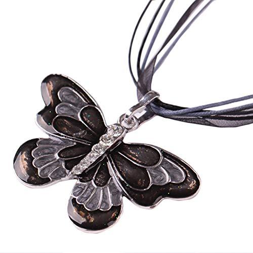 Vi.yo Legierung Halskette für Damen Bandfarbe Schmetterlingshalskette zu Weihnachten Geschenk Valentinstag Jubiläum Jubiläen