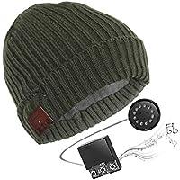 ANFAY Bluetooth Gorros Tejidos Wireless Música Receptor De Cabeza Gorrita Tejida Sombreros Micrófono Incorporado Respuesta De Llamadas Apoyo iPhone/Android Equipo,Green