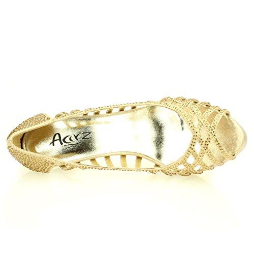 Femmes Dames Soir Mariage Party Haute Talon Stiletto Diamante Peep Toe De Mariée Sandale Chaussures Taille (Or, Argent, Noir) Or