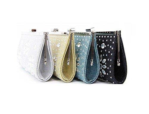 Frauen Mobil Telefon Kosmetiktasche Neue Art Und Weise Diamant Damen Abendtasche Blue