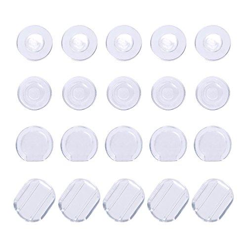 100 Stück Ohrklemmer Ohrring Kissen Silikon Ohrring Rücken für Ohr Clip, 4 Formen, Klar