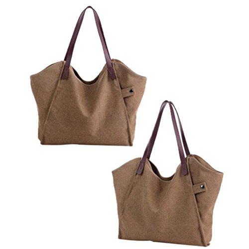 Imagen de bolso bandolera bolsa de hombro de lona grande marrón para mujer y shoppers por esailq i