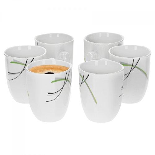 6er Set Kaffeebecher Donna 33cl - Kaffeetasse aus weißem Porzellan mit Linien- Dekor in schwarz,...