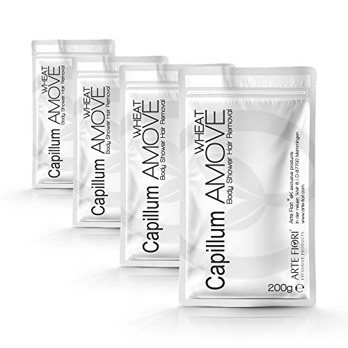 Sparpaket 800g Capillum AMOVE Wheat Einzel-Beutel [Geruchlos] - Haarentfernungscreme Pulver mit natürlicher Weizenstärke für Mann & Frau