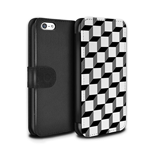 Stuff4 Coque/Etui/Housse Cuir PU Case/Cover pour Apple iPhone 5C / Coeurs Transparents Design / Mode Noir Collection Cube 3D/Modèle