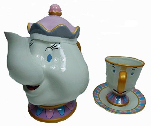 asse Mug Pott Kaffee Disneyland Tee Set Madame Pottine und Tassilo aus Porzellan (Die Schöne Und Das Biest Tee-set)