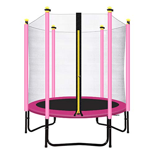 Trampolin, Kids Mini-Trampolin mit Einschließungsnetz, Rosa, 150 cm, Sicherheitsübungshocker für Indoor/Outdoor - Max Load 200KG