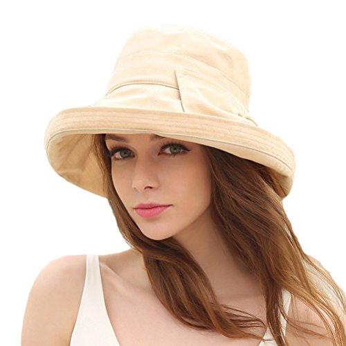 CACUSS Damen Strand Hat Eimer Hut klappbare Kappe Sommer Sonne Hüte Rollen birm UPF 50+ - Upf Eimer Damen Hut