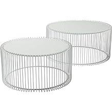 Couchtisch Wire White 2er Set, Weiß, Runder, Moderner Glastisch, Großer  Beistelltisch,