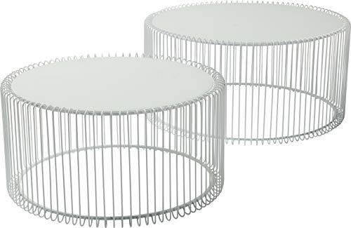 Kare Design Couchtisch Wire White 2er Set, runder, moderner Glastisch, großer Beistelltisch, Kaffeetisch, Nachttisch, Weiß (H/B/T) 30,5xØ60cm & 33,5xØ69,5cm -