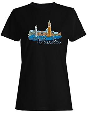 Venecia, italia, divertido, novedad, vintage, arte camiseta de las mujeres vv33f