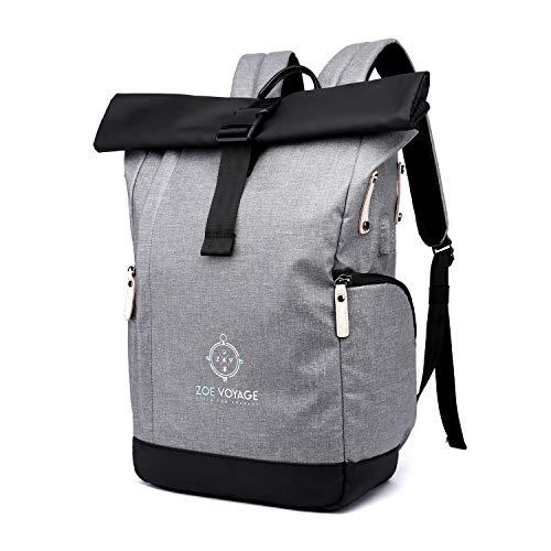 ZOE Voyage Roll Top Rucksack für Uni Reisen,Job,Damen und Herren| hochwertig, wasserabweisend|stylisher Laptop Rucksack mit Laptopfach 15,6 Zoll||XL Rolltop