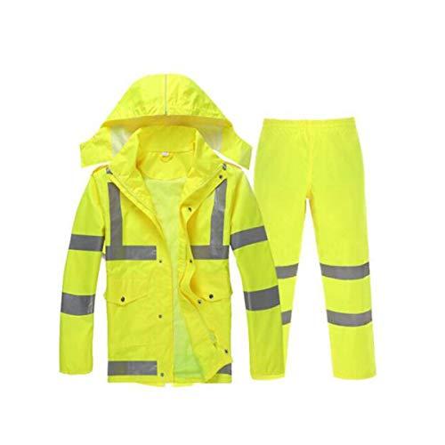 Gaoxingbianlidian001 Reflektierende Weste Reflektierende Ausrüstung Reflektierende Kleidung Regenmantel Regenhosenanzug Regenmantel Reitregenmantel (Color : Yellow, Size : M)