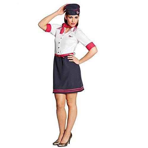 Kostüm Flugbegleiterin Paula Größe Kleid mit Hut Stewardess Fasching Karneval ()