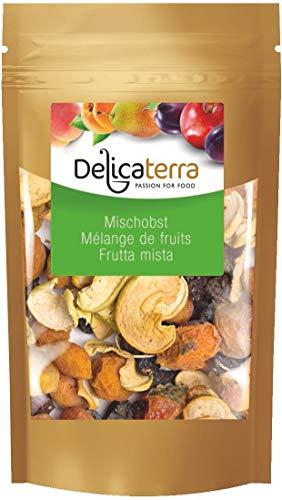 Delicaterra Mischobst Leckere Trockenfruchtmischung aus Aprikosen, Pflaumen, Äpfeln und Pfirsichen, 1 kg