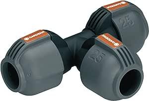 Gardena Sprinklersystem T-Stück: Rohrverbinder für Rohrabzweigung des Verlegerohrs, 25 mm, Quick & Easy Verbindungstechnik, kompatibel mit Gardena Verlegerohre 25 mm, werkzeuglose Montage (2771-20)