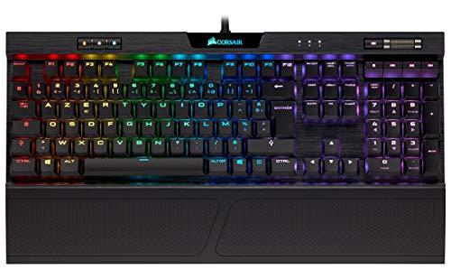 Corsair K70 RGB MK.2 Low Profile Clavier Mécanique Gaming (Cherry MX Red : Lisse et Rapide, Rétro-Éclairage RGB Multicolore, AZERTY) - Noir