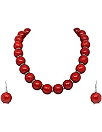 Best Valentine Collection: Sitashi Fashion Jewellery Hand Made Red Color Beads Necklace For Girls And Women…