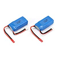 Fantasyworld 2Pcs 7.4V 1100mAh 25C 2S Lipo Battery JST Plug Rechargeable for Wltoys A949 A959 A969 A979 RC Car Airplane Drone