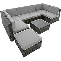 TecTake Conjunto muebles de jardín en ratán comedor juego | 6 Asientos + 1 Taburete + 1 Mesa | tornillos de acero inoxidable | mixed marrón