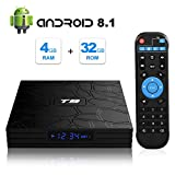 Android TV Box, T9 Android 8.1 4GB RAM/32GB ROM RK3328 Quad-Core Media Box Soporte 2.4GHz WiFi 64 bits H.265 Bluetooth 4.0 DLNA UHD 4K Mini TV Box