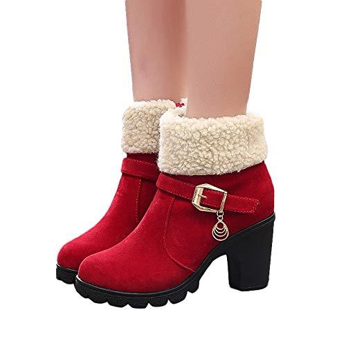 TianWlio Boots Stiefel Schuhe Stiefeletten Frauen Herbst Winter Mode Kurze Stiefel Winter Plattform Flock Faltbar Warme Schneeschuhe Weihnachten rot 37