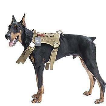 OneTigris Harnais Veste/Gilet De Chien Résistant à Eau en Nylon 1000D avec Molle pour Marche Randonnée Chasse Dressage Tactique (Coyote, Moyen)