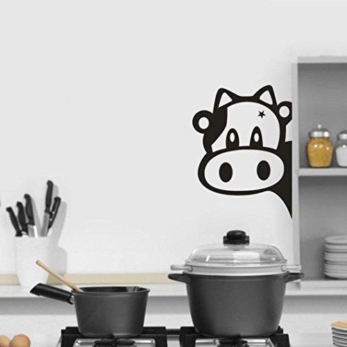 TWBB Nette Kuh Kopf Küche Kühlschrank Schlafzimmer Wandaufkleber (Schwarz)