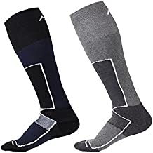 2pares de alto rendimiento hombres calcetines de esquí térmica–secado rápido Wicking Coolmax largo manguera ligero transpirable para hombre ropa de esquí deportes al aire libre cálido calcetines–talla UK 6–10euros 39–44, Men