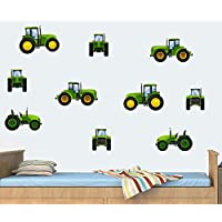 Childrens Tractors - Green - Pack of 10 - Wall Art Vinyl Printed Stickers